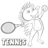 Coloring book hedgehog plays tennis. Cartoon style. Stock Image