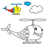Coloring book the helicopter in the sky with. Clouds for young children with small items for example. vector illustration Royalty Free Stock Images