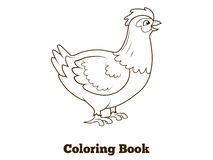 Coloring book hen chicken cartoon illustration Stock Images