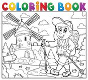 Coloring book hiker near windmill Stock Image
