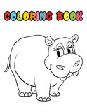 Coloring book hippopotamus cartoon Stock Photos