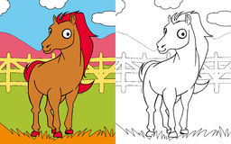 Coloring book horse. Colors and black and white version of a happy horse, for a coloring book Stock Photos