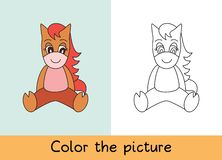 Coloring book. Horse. Cartoon animall. Kids game. Color picture. Learning by playing. Task for children stock illustration