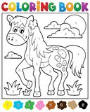 Coloring book with horse. Eps10 vector illustration Stock Photography