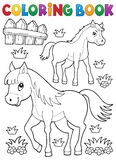 Coloring book horse with foal theme 1 vector illustration