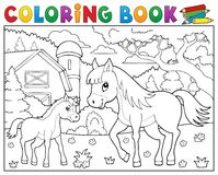 Coloring book horse with foal theme 2 Stock Photography