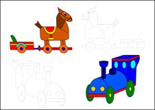 Coloring book-horse and locomotive. Horse locomotive train transport children blue trolley stock illustration