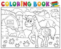 Coloring book horse near farm theme 1 Stock Photo
