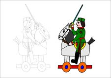 Coloring book-horse and soldier. Horse soldier army military history sword sabre children stock illustration