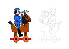 Coloring book-horse and soldier Stock Photo