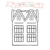 Coloring book with house building. Vector illustration for the children. Royalty Free Stock Images
