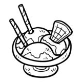 Coloring book, Ice cream in bowl. Coloring book for children, Ice cream in bowl royalty free illustration