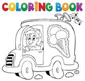 Coloring book ice cream man in car Royalty Free Stock Photos