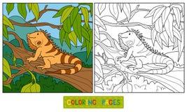 Coloring book (iguana) Stock Photography