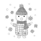 The coloring book - illustration for the children. Coloring for children and adults. Nice penguin in a knitted hat. Black and white contour drawing. Children`s Stock Photo