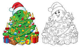Coloring book, illustration. Christmas tree with gifts. Greeting card concept. Stock Photography