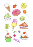 Watercolor illustration of desserts and sweets Stock Image