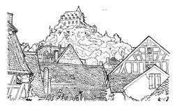 Coloring Book Illustration Of Old Village Royalty Free Stock Photos