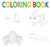 Coloring book with insect collection stock illustration