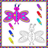 Coloring Book with insects (butterfly). Vector illustration. Stock Image