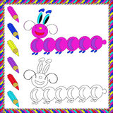 Coloring Book with insects (caterpillar). Vector illustration. Stock Images