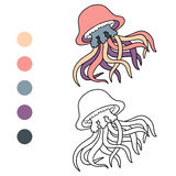 Coloring book (jellyfish) Stock Image