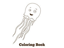 Coloring book jellyfish fish cartoon illustration Royalty Free Stock Image