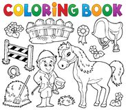 Coloring book jockey and horse thematics vector illustration