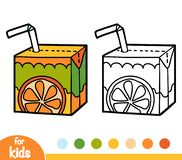 Coloring book, Juice box with straw stock illustration