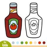 Coloring book, Ketchup pack royalty free illustration