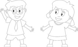 Coloring Book for Kids [1]. Two kids in black and white. Useful also for colouring book for kids. You can find other b/w illustrations in my portfolio Stock Photography