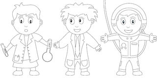 Coloring Book for Kids [11]. Three kids (a chemist, a scientist and an astronaut) in black and white. Useful also for colouring book for kids. You can find other Royalty Free Stock Photos