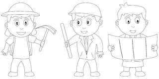 Coloring Book for Kids [12]. Three kids (an archaeologist, an engineer and an architect) in black and white. Useful also for colouring book for kids. You can Stock Photo