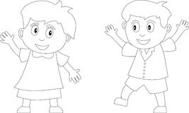 Coloring Book for Kids [2]. Two kids in black and white. Useful also for colouring book for kids. You can find other b/w illustrations in my portfolio Royalty Free Stock Photos