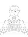 Coloring Book for Kids [22]. A boy reading the Torah in black and white. Useful also for colouring book for kids, Bar Mitzvah invitation card or educational Stock Photos
