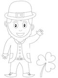 Coloring Book for Kids [24]. A happy and smiling leprechaun with a shamrock in black and white. Useful also for colouring book for kids or St. Patricks or Saint Royalty Free Stock Photo