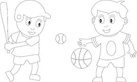 Coloring Book for Kids [3]. Two kids in black and white playing basketball and baseball. Useful also for colouring book for kids. You can find other b/w Royalty Free Stock Images