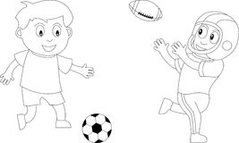 Coloring Book for Kids [4]. Two kids in black and white playing soccer and football. Useful also for colouring book for kids. You can find other b/w Stock Images