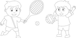 Coloring Book for Kids [5]. Two kids in black and white playing tennis and volleyball. Useful also for colouring book for kids. You can find other b/w Royalty Free Stock Image