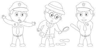 Coloring Book for Kids [8]. Three kids (a traffic officer, a detective and a policeman) in black and white. Useful also for colouring book for kids. You can find Royalty Free Stock Images