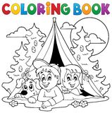Coloring book kids camping in forest Royalty Free Stock Image