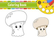 Coloring book for kids. Cheerful character. Vector illustration. Cute cartoon style. Hand drawn. Fantasy page for children. Isolated on white background royalty free illustration