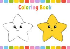 Star. Coloring book for kids. Cheerful character. Vector illustration. Cute cartoon style. Hand drawn. Fantasy page for children. Coloring book for kids royalty free illustration