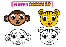 Coloring Book for kids. Happy coloring book for kids with animal theme Royalty Free Stock Photos