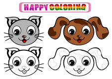 Coloring Book for kids. Happy coloring book for kids with animal theme Royalty Free Stock Photography