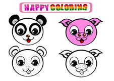 Coloring Book for kids. Happy coloring book for kids with animal theme Royalty Free Stock Image