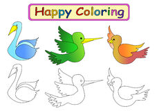 Coloring Book for kids. Happy coloring book for kids with bird theme Stock Photos