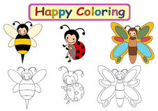 Coloring Book for kids. Happy coloring book for kids with insects theme Stock Image