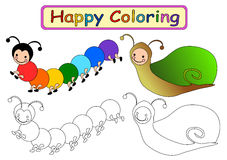 Coloring Book for kids. Happy coloring book for kids molusca theme Stock Image