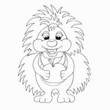 Coloring book for kids. Hedgehog with apple. Royalty Free Stock Photos